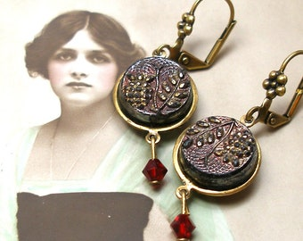 """Antique LACY BUTTON earrings, Victorian plants in black glass on brass, 1 5/8"""" Present, gift."""