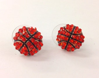 Rhinestone basketball stud earrings  / gift for sports mom / spots team / gift for her/volleyball mom /fashion earring