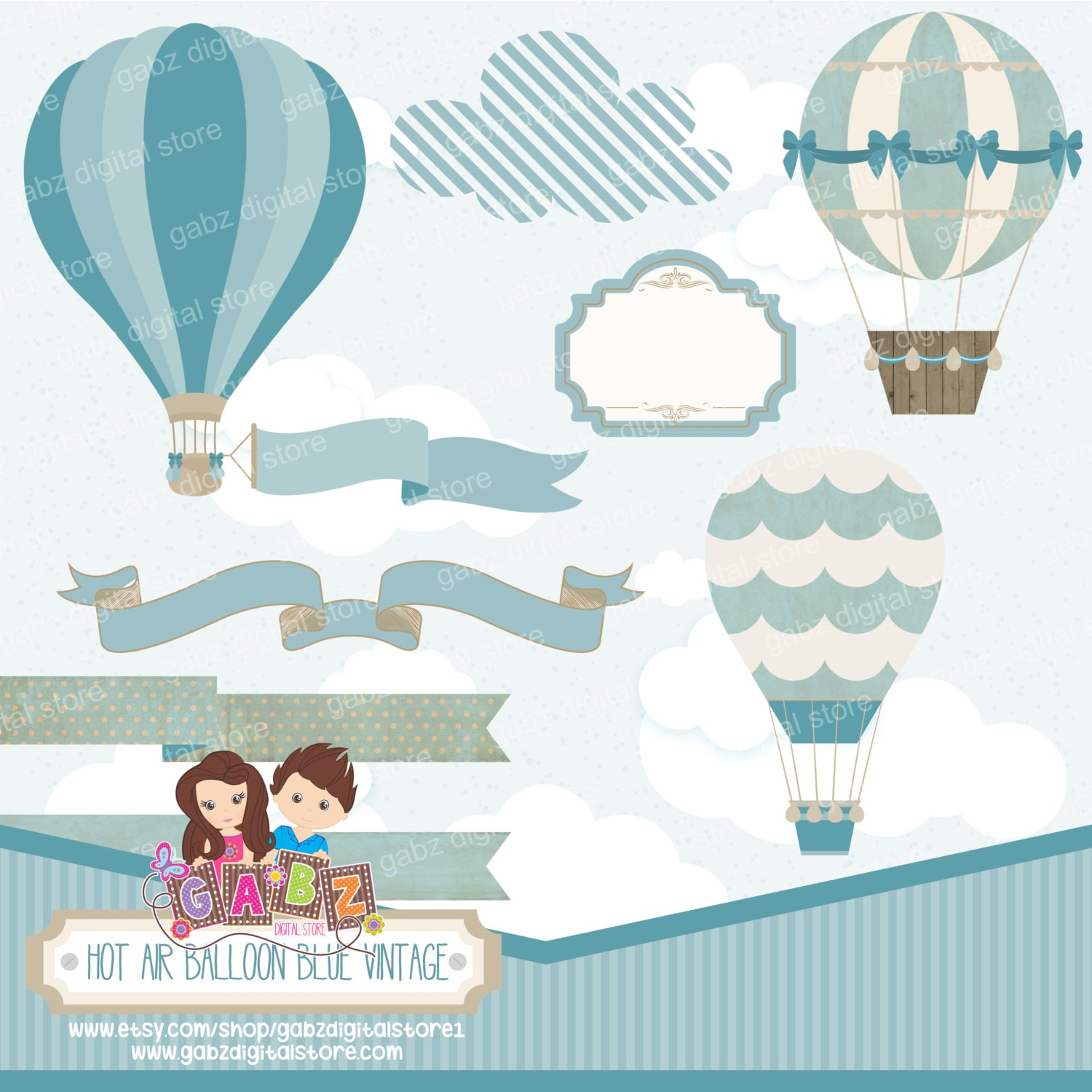 Hot Air Balloon Blue Vintage, Clipart, Digital Paper, Birthday Boy, Baby  Shower, Baptism, Frame, Banner, Balloons, Vintage, Gabz