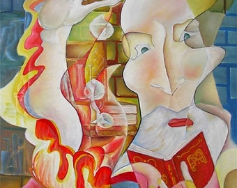 """Cubism Painting Large Canvas, Picasso Style """"THE ALCHEMIST"""" Oil Painting by DOBOS"""