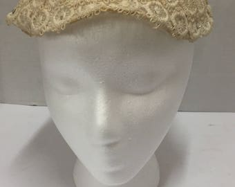 Vintage cream lace and rhinestone pillbox hat