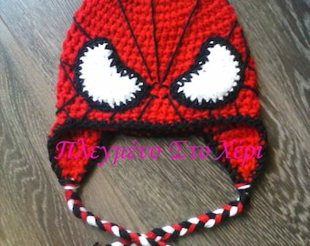 spiderman inspired hat, boys hats, crochet hat spiderman, handmade hat spiderman, Winter Accessories, kids hat, gift for boys, winter hat