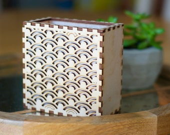 Patterned Lantern of Wood and Rice Paper