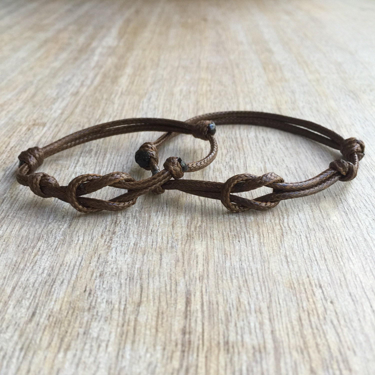 Simple Bracelet Brown Waxed Cord Bracelets His and her