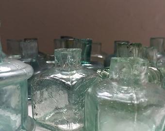 3 Small Antique English Aqua Glass Ink Bottles London 1880's