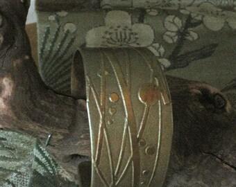 Playful cuff in Nugold - Original design - Handmade Artisan Jewelry - One of a Kind