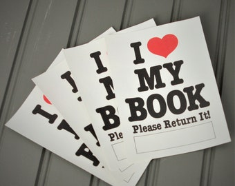 I Heart My Book Plate Ex Libris Library Book Club lost book plate library gummed party favors I love my book 1980's  bookplate