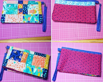 Reversible fold over Patchwork Clutch