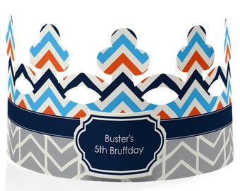 Custom Party Hats - Chevron Boy Bruffday Dog Party Supplies - 8 Count
