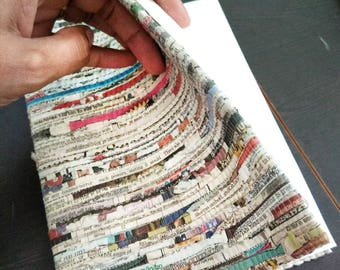 Upcycled Newspaper Diary Jackets with recycled handmade paper diary