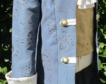 """Men's Pirate Colonial or Rococo Frock Coat  Sky Blue with Velvet Cuffs 46"""""""