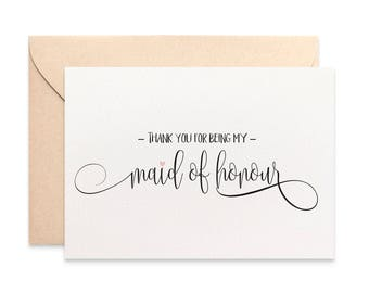 Thank you for being my Maid of Honour Card, Bridal Wedding Card, Script Font, Thank You Maid of Honour Card, Wedding Thank You Card, WED059