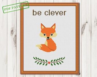 Fox cross stitch pattern Be clever Chanterelle Baby cross stitch pattern  Woodland Animals Forest Bird cross stitch pattern PDF Download