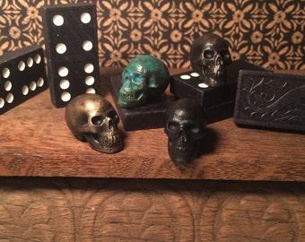 bronze skull, skull, miniature, cast bronze, anatomy, human skull, cast metal, game piece, game token, fairy garden, fairy house, terrarium