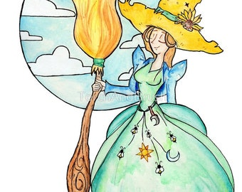Farmer Witch - OOAK Original Country Witch 9 x 12 Watercolor Painting