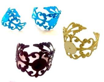 set of 10 rings adjustable engraved metal plate 8mm, choose from 4 colors