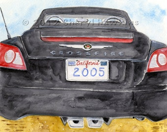 Chrysler Crossfire Convertible- watercolor painting, car art, car watercolor, black Crossfire