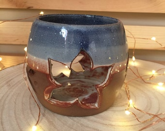 Blue and White Flowers and Vines Candle Holder Luminary