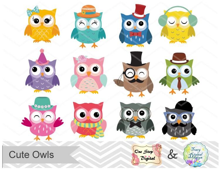 digital owl clip art cute owl clipart digital owl scrapbook rh etsy com cute owl clipart free cute pink owl clip art