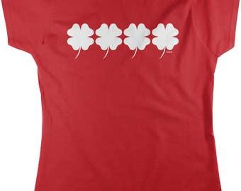 4 Leaf Clovers, Good Luck Charm, St. Patrick's Day Women's T-shirt, NOFO_00943