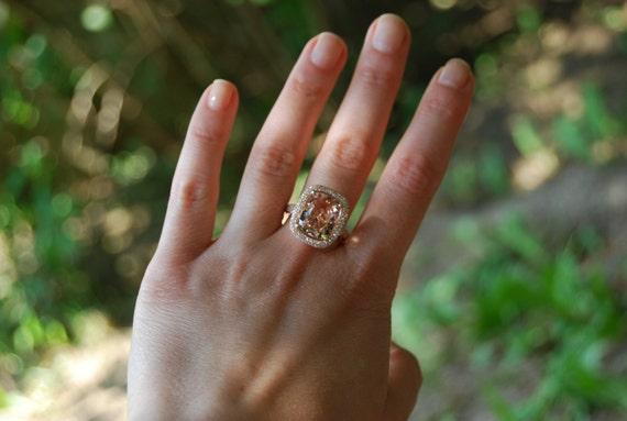 Morganite ring rose gold diamond engagement ring. Cocktail peach morganite 5ct diamond ring