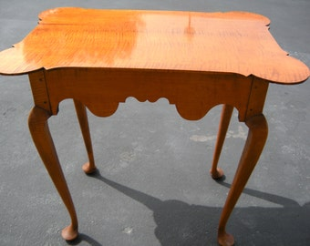 Tiger Maple Tea Table with Porringer Top
