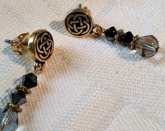 Black, and black diamond and gold plated Celtic knot post pierced earrings