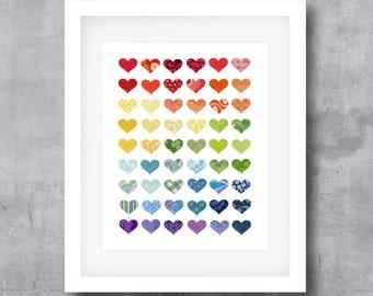 Rainbow of Love Hearts, Colorful Hearts, Modern Poster Print, Printable Wall Art, Digital Download, 8x10, 11x14, 16x20