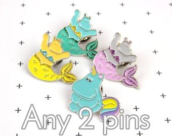 Any 2 pins - Pins set - Unicorn hippo enamel pin badge - Mermaid pin -Hippopotamus gift -Kawaii pin -Pin for tea lover -Soft enamel pin