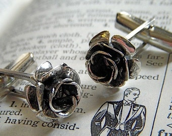 Silver Rose Cufflinks Tiny Silver Plated Vintage Inspired Steampunk Style Gothic Victorian Roses Antiqued Finish