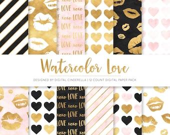 Watercolor Gold Foil Love Digital Paper   Black, Blush and Gold Foil  Heart Digital Paper   Kiss Digital Paper