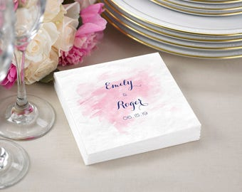Cocktail Napkins / Luncheon Napkins / Personalized Watercolor Cocktail Napkins For Wedding / 3 Ply Paper Napkins
