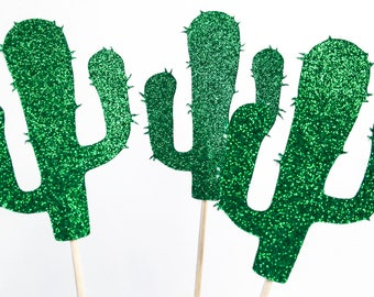 Cactus Topper Cupcake, Cactus Party, green glitter - Set of 8 - Cacti, Cupcake Toppers, Desert party, Fiesta party decor, cacti
