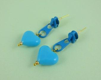 Blue Zip Earrings, Blue Heart Earrings, zip stud earring, Fairy-Kei, cute kitsch kawaii, blue zipper earrings, repurposed earring, retro 80s