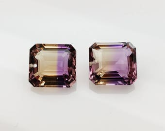 One pairs natural bi color ametrine drilled 14 cts, 12x11.50mm-11.50x11.50mm