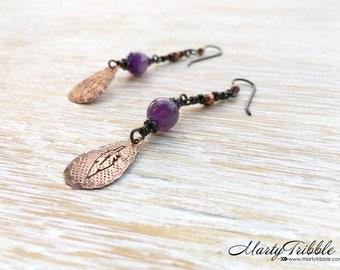 Amethyst Earrings, Feather Earrings, February Birthstone, Hypoallergenic Niobium Earrings, Gemstone Earrings, Boho Earrings, Purple Earrings