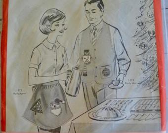 "Vintage BUCILLA Needlework Kit 1274 ""Jeweled"" Christmas Felt Party Vest Men's Christmas Vest Kit Sealed"