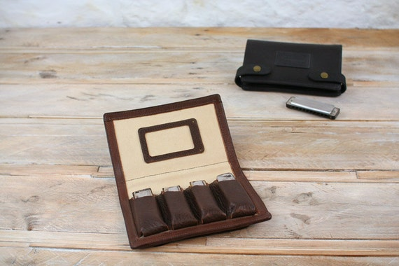 4-Pack Leather Harmonica Case