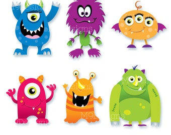 MONSTERS Clip Art: Monster Clipart, Scary Fun Cute Monsters Vector, Instant Download