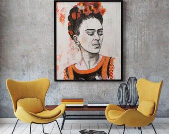 Frida Kahlo portrait Large poster photo print- Frida Kahlo 24x36 inches photo painting print - tirage d'art - fine art - print-