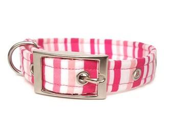 Dog collar, Pink striped, female collar, striped collar, metal buckle collar, plastic buckle collar, adjustable dog collar, girl collar