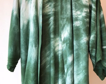 Hand Dyed Rayon Kimono Robe in Monstera , Tie Dyed Rayon Bathrobe, Knee Length, Anna Joyce, Portland, OR.