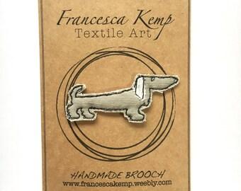 Handmade Embroidery Dachshund Brooch