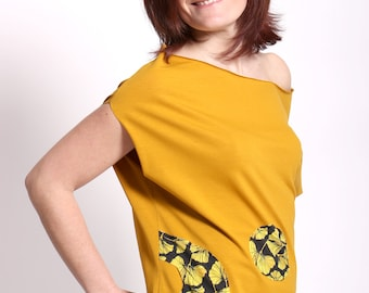 Butterfly T-shirt with applications (Gingko leaves)