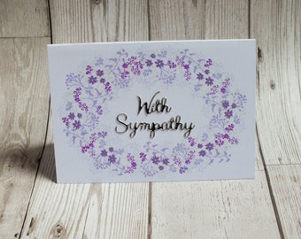 With Sympathy Floral Hand Stamped Card - Greetings Card, Sympathy