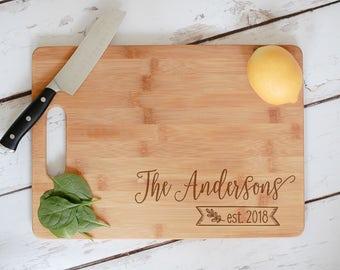 Wedding Cutting Board, Custom Name Engraved Bamboo Wedding Cutting Board, Anniversary Gift, Personalized Wedding Gift,Custom Wooden Chopping