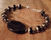 Mirrored Glass Bracelet in Black and Silver with Agate and Hematite, Black Tie Jewelry, Formalwear, Sterling Silver