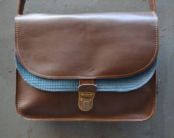 """Bag """"Clémentine"""" leather chocolate brown and blue fancy"""