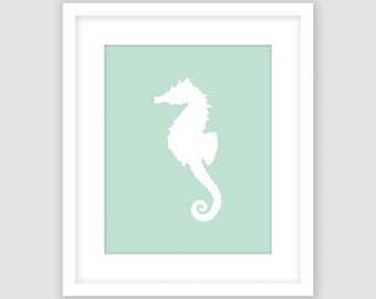 White Seahorse on Mint Green Print, Nautical Wall Art, Beach Decor, Modern Art, Instant Download, DIY, Printable