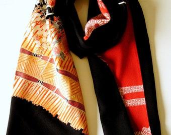 Japanese silk kimono scarf | 142 | Hand made from vintage kimono fabrics